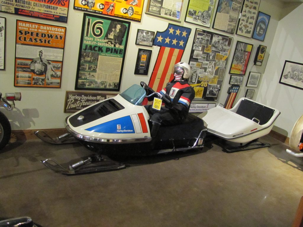 "We thank David Borre for loaning his 1972 Harley-Davidson Snowmobile and rare matching snow ""trailer"" for display at the National Motorcycle Museum."