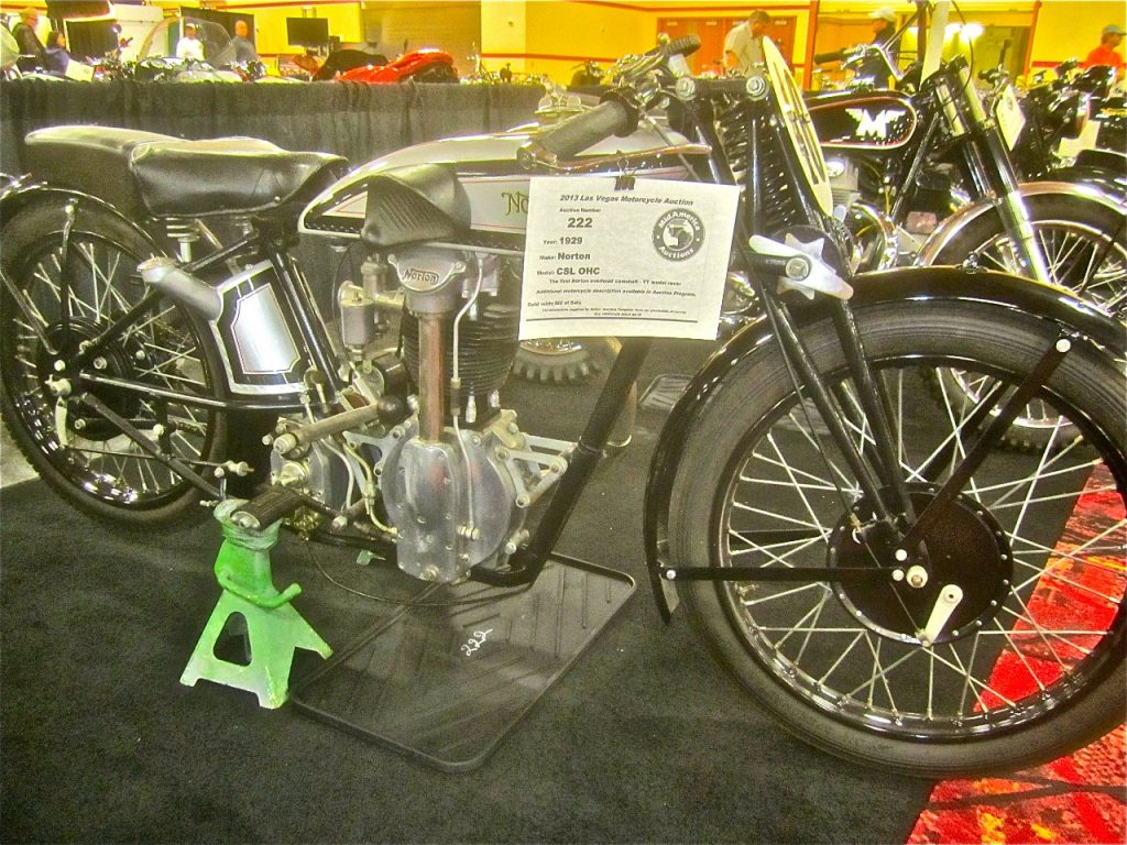 Rare bikes are offered at the Mid-America Auction. In the late 1920's Norton engineered its first overhead cam engine using a tower shaft cam drive they stuck with for decades. The 490cc CS1 shown here is a 1929 model from the third year of production.
