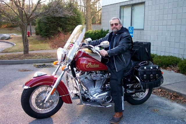 The 2013 Victory winner, Sid Martsen of Lawrence, Masschusetts, sitting on his 2003 Indian Spirit.