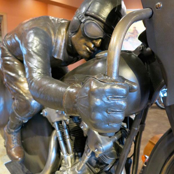 Joe Petrali Streamlined Harley-Davidson bronze sculpture by Jeff Decker