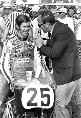 Roxy Rockwood interviews Don Emde after his Daytona 200 win in 1972.