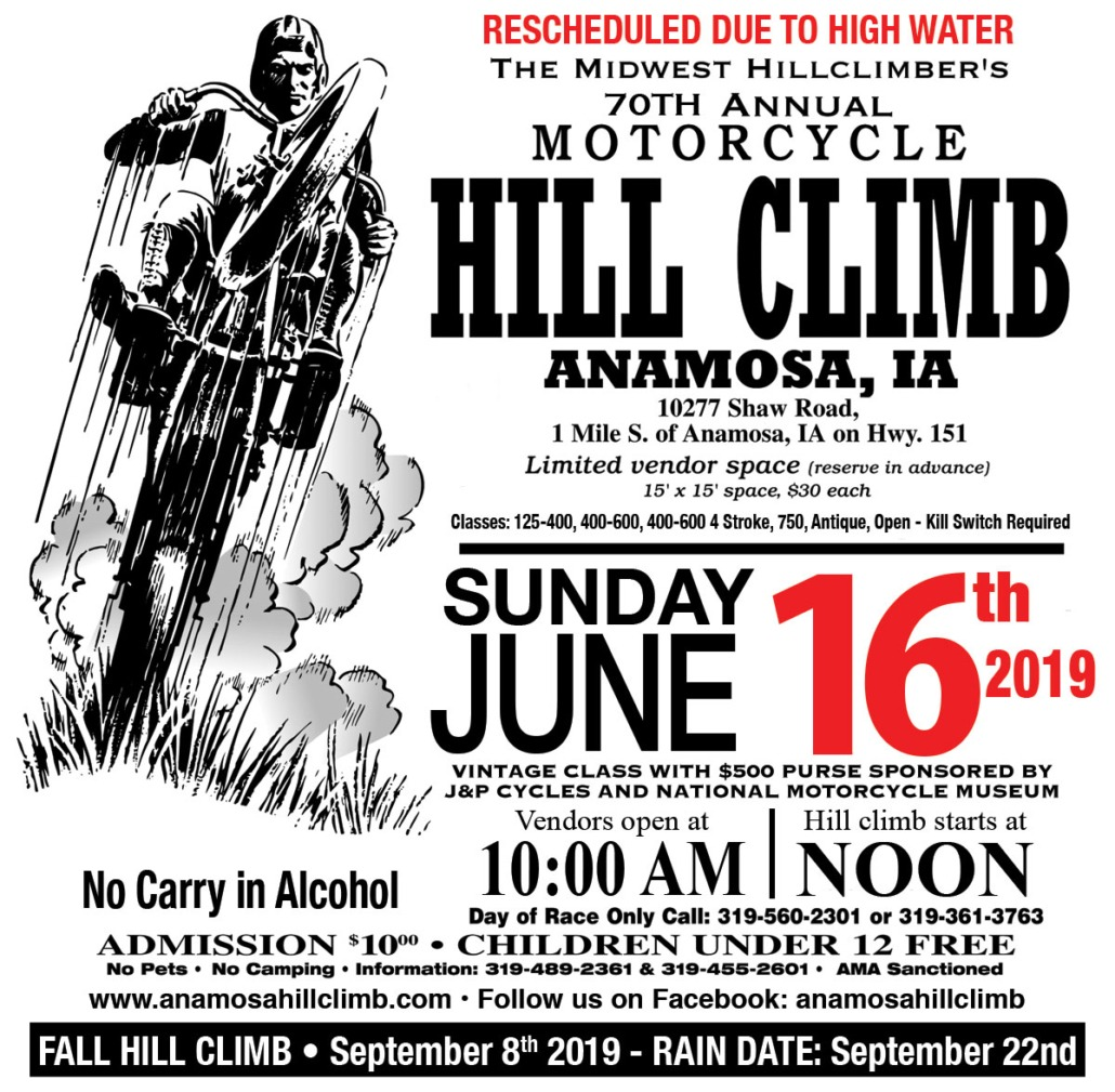 Hillclimb rescheduled to June 16